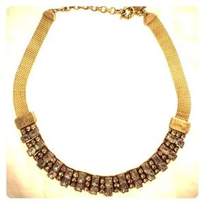 J. Crew gold mesh and jeweled collar necklace